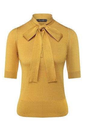 Женская шелковый пуловер DOLCE & GABBANA желтого цвета, арт. FX706T/JASIP | Фото 1