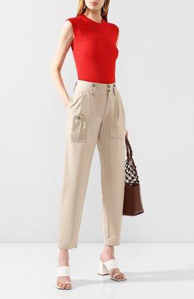 Женские хлопковые брюки DOLCE & GABBANA бежевого цвета, арт. FTBRQT/FU6WE | Фото 2