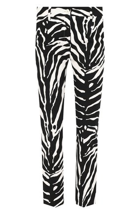 Женские хлопковые брюки DOLCE & GABBANA черно-белого цвета, арт. FTAGNT/FSFJ2 | Фото 1