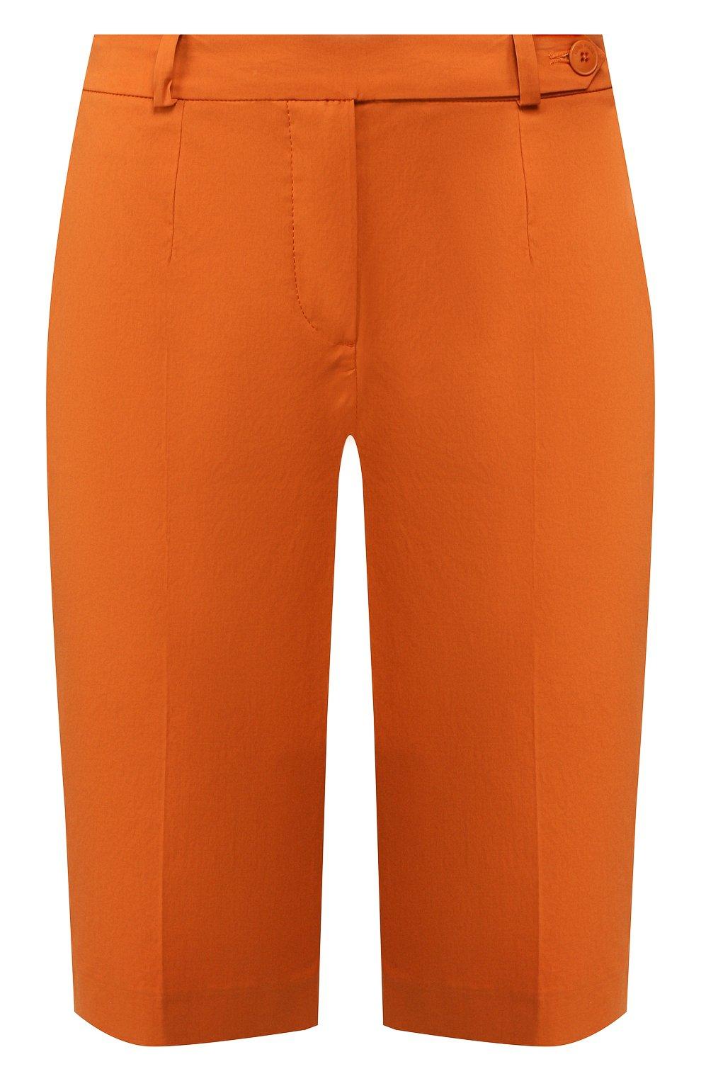 Женские хлопковые шорты LORO PIANA оранжевого цвета, арт. FAI6014 | Фото 1 (Женское Кросс-КТ: Шорты-одежда; Длина Ж (юбки, платья, шорты): Мини; Материал внешний: Хлопок; Стили: Классический, Минимализм, Кэжуэл)