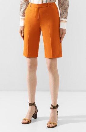 Женские хлопковые шорты LORO PIANA оранжевого цвета, арт. FAI6014 | Фото 3 (Женское Кросс-КТ: Шорты-одежда; Длина Ж (юбки, платья, шорты): Мини; Материал внешний: Хлопок; Стили: Классический, Минимализм, Кэжуэл)