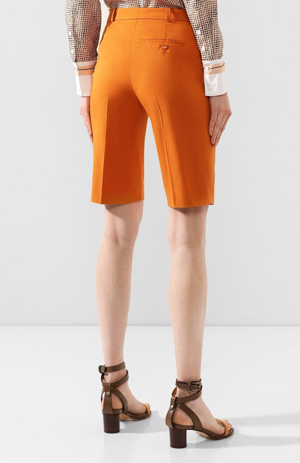 Женские хлопковые шорты LORO PIANA оранжевого цвета, арт. FAI6014 | Фото 4 (Женское Кросс-КТ: Шорты-одежда; Длина Ж (юбки, платья, шорты): Мини; Материал внешний: Хлопок; Стили: Классический, Минимализм, Кэжуэл)