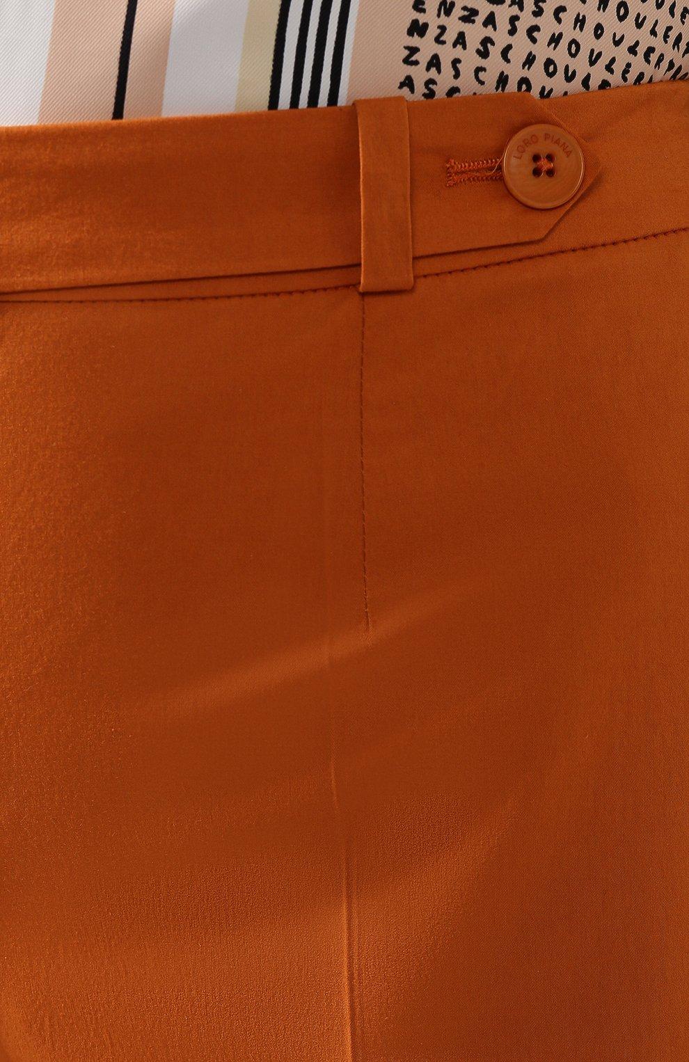 Женские хлопковые шорты LORO PIANA оранжевого цвета, арт. FAI6014 | Фото 5 (Женское Кросс-КТ: Шорты-одежда; Длина Ж (юбки, платья, шорты): Мини; Материал внешний: Хлопок; Стили: Классический, Минимализм, Кэжуэл)