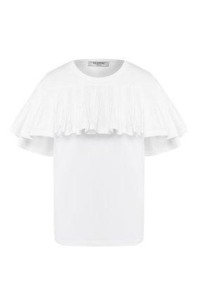 Женская хлопковая футболка VALENTINO белого цвета, арт. TB0MG06J5G4 | Фото 1