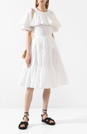 Женская хлопковая футболка VALENTINO белого цвета, арт. TB0MG06J5G4 | Фото 2
