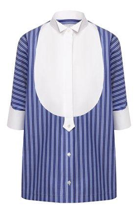 Женская хлопковая рубашка SACAI синего цвета, арт. 20-04821 | Фото 1