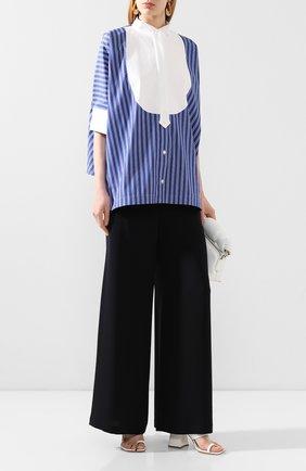 Женская хлопковая рубашка SACAI синего цвета, арт. 20-04821 | Фото 2