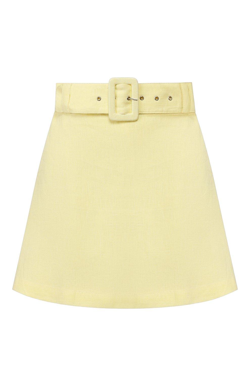 Женские льняные шорты FAITHFULL THE BRAND желтого цвета, арт. FF1505 | Фото 1 (Женское Кросс-КТ: Шорты-одежда; Длина Ж (юбки, платья, шорты): Мини; Материал внешний: Лен; Стили: Романтичный)