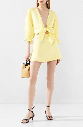 Женские льняные шорты FAITHFULL THE BRAND желтого цвета, арт. FF1505 | Фото 2
