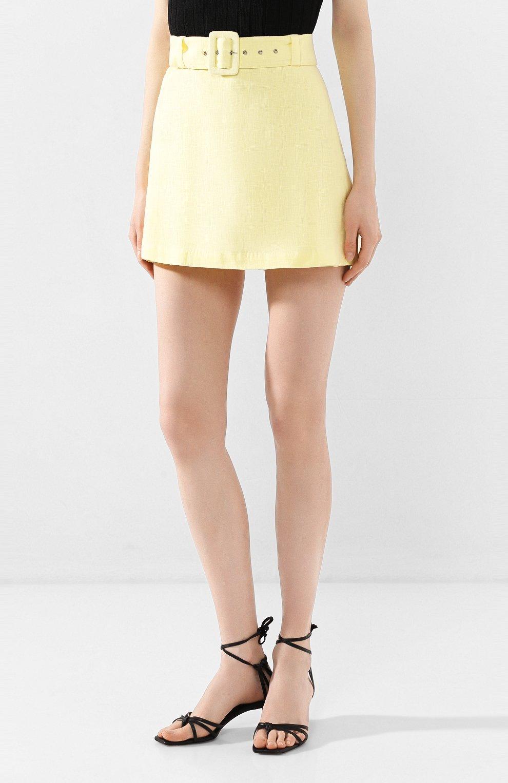 Женские льняные шорты FAITHFULL THE BRAND желтого цвета, арт. FF1505 | Фото 3 (Женское Кросс-КТ: Шорты-одежда; Длина Ж (юбки, платья, шорты): Мини; Материал внешний: Лен; Стили: Романтичный)