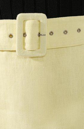 Женские льняные шорты FAITHFULL THE BRAND желтого цвета, арт. FF1505 | Фото 5 (Женское Кросс-КТ: Шорты-одежда; Длина Ж (юбки, платья, шорты): Мини; Материал внешний: Лен; Стили: Романтичный)