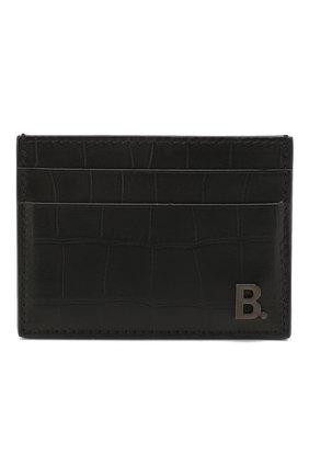 Мужской кожаный футляр для кредитных карт  b. BALENCIAGA черного цвета, арт. 601347/1JU7W | Фото 1