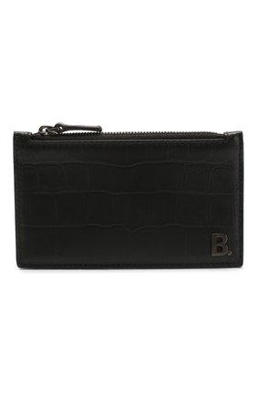 Мужской кожаный футляр для кредитных карт  b. BALENCIAGA черного цвета, арт. 601348/1JU7W | Фото 1