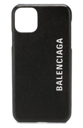 Мужской кожаный чехол для iphone 11 pro max BALENCIAGA черного цвета, арт. 618388/1IZD0 | Фото 1