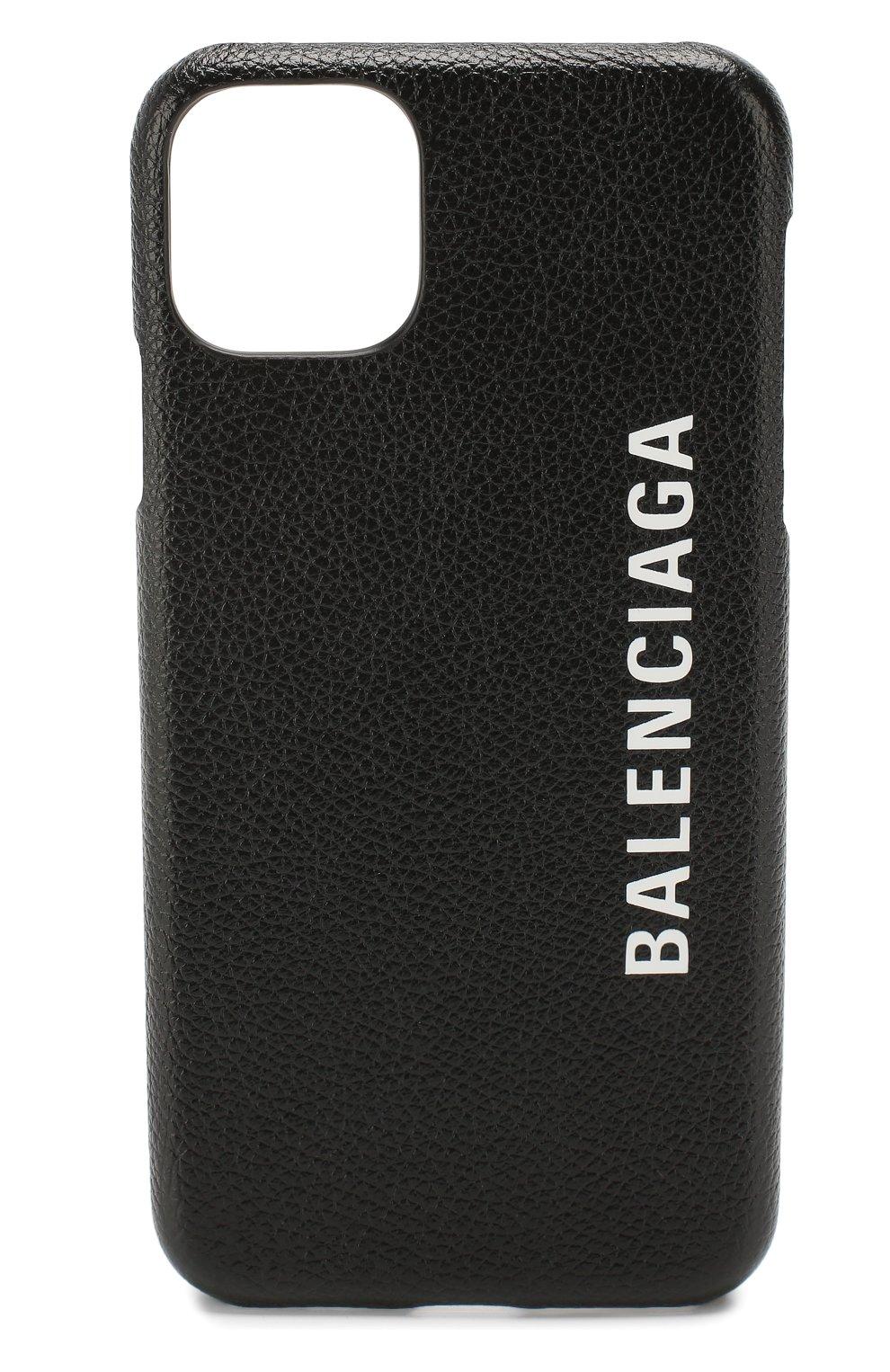 Мужской кожаный чехол для iphone 11 pro max BALENCIAGA черного цвета, арт. 618388/1IZD0   Фото 1