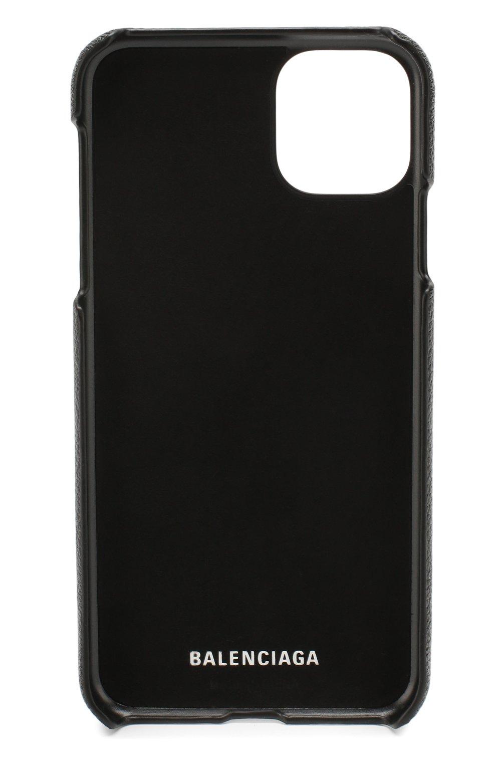 Мужской кожаный чехол для iphone 11 pro max BALENCIAGA черного цвета, арт. 618388/1IZD0   Фото 2