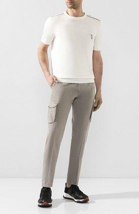 Мужские хлопковые брюки-карго KITON светло-бежевого цвета, арт. UFPPCAJ07S44 | Фото 2