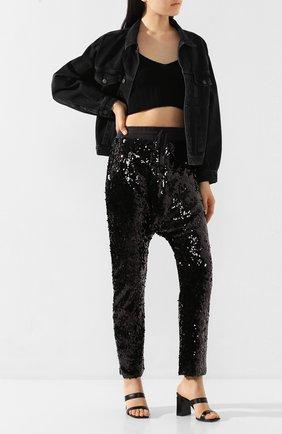 Женские брюки с пайетками R13 черного цвета, арт. R13W7645-41   Фото 2