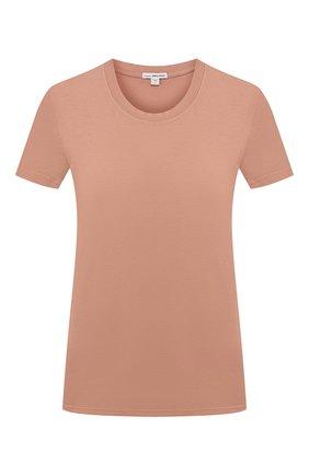 Женская хлопковая футболка JAMES PERSE бежевого цвета, арт. WLJ3114 | Фото 1