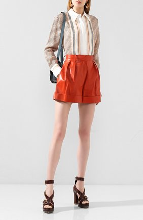 Женские кожаные шорты VALENTINO оранжевого цвета, арт. TB0NH01P1AW | Фото 2