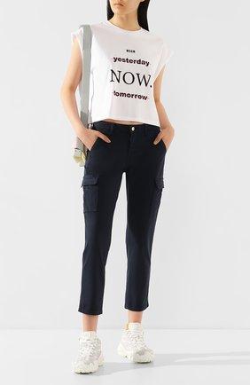 Женские брюки из смеси хлопка и вискозы 7 FOR ALL MANKIND темно-синего цвета, арт. JSL3V950NV | Фото 2