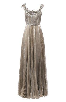 Женское шелковое платье OSCAR DE LA RENTA серебряного цвета, арт. 20SE026LM0   Фото 1