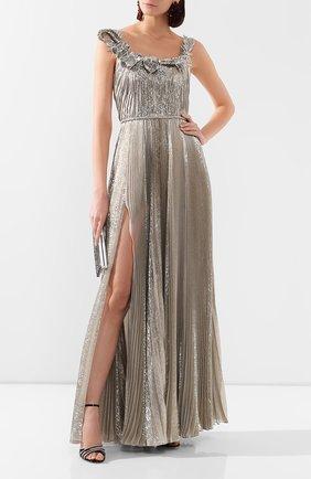 Женское шелковое платье OSCAR DE LA RENTA серебряного цвета, арт. 20SE026LM0   Фото 2