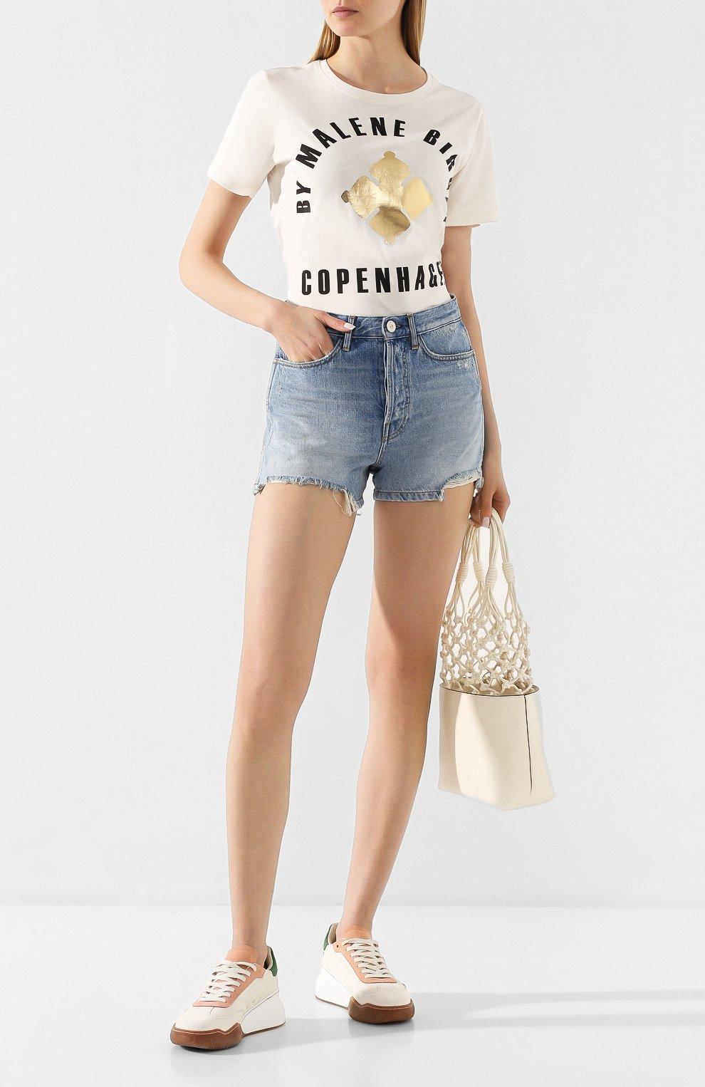 Женские джинсовые шорты 3X1 голубого цвета, арт. WSXSB0866/LEAH | Фото 2 (Женское Кросс-КТ: Шорты-одежда; Кросс-КТ: Деним; Длина Ж (юбки, платья, шорты): Мини; Материал внешний: Хлопок; Стили: Кэжуэл)