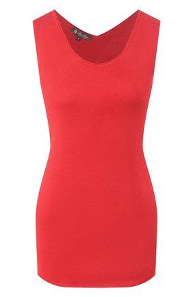 Женский шелковый топ LORO PIANA красного цвета, арт. FAL1552 | Фото 1 (Материал внешний: Шелк; Длина (для топов): Стандартные; Рукава: Без рукавов; Стили: Классический; Кросс-КТ: без рукавов)