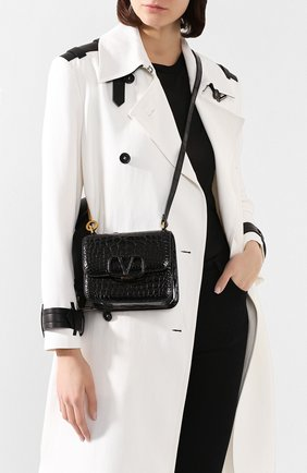 Женская сумка valentino garavani vsling small из кожи аллигатора VALENTINO черного цвета, арт. TW2B0F01/XDE/AMIS | Фото 2