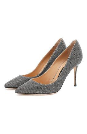 Женская текстильные туфли godiva SERGIO ROSSI серебряного цвета, арт. A43843-MTEL21 | Фото 1