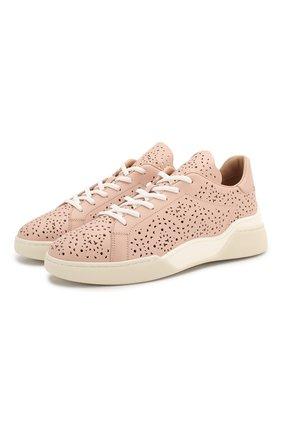 Женские кожаные кроссовки TOD'S светло-розового цвета, арт. XXW31C0CU10NB6 | Фото 1