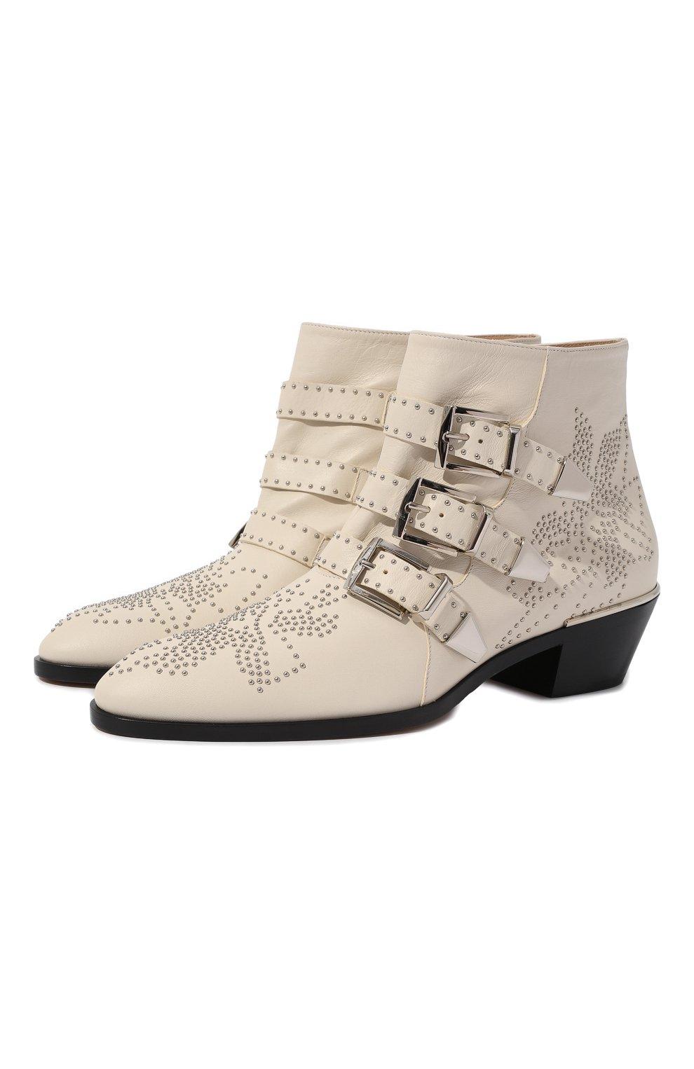 Женские кожаные ботинки susanna CHLOÉ белого цвета, арт. CHC16A13475 | Фото 1