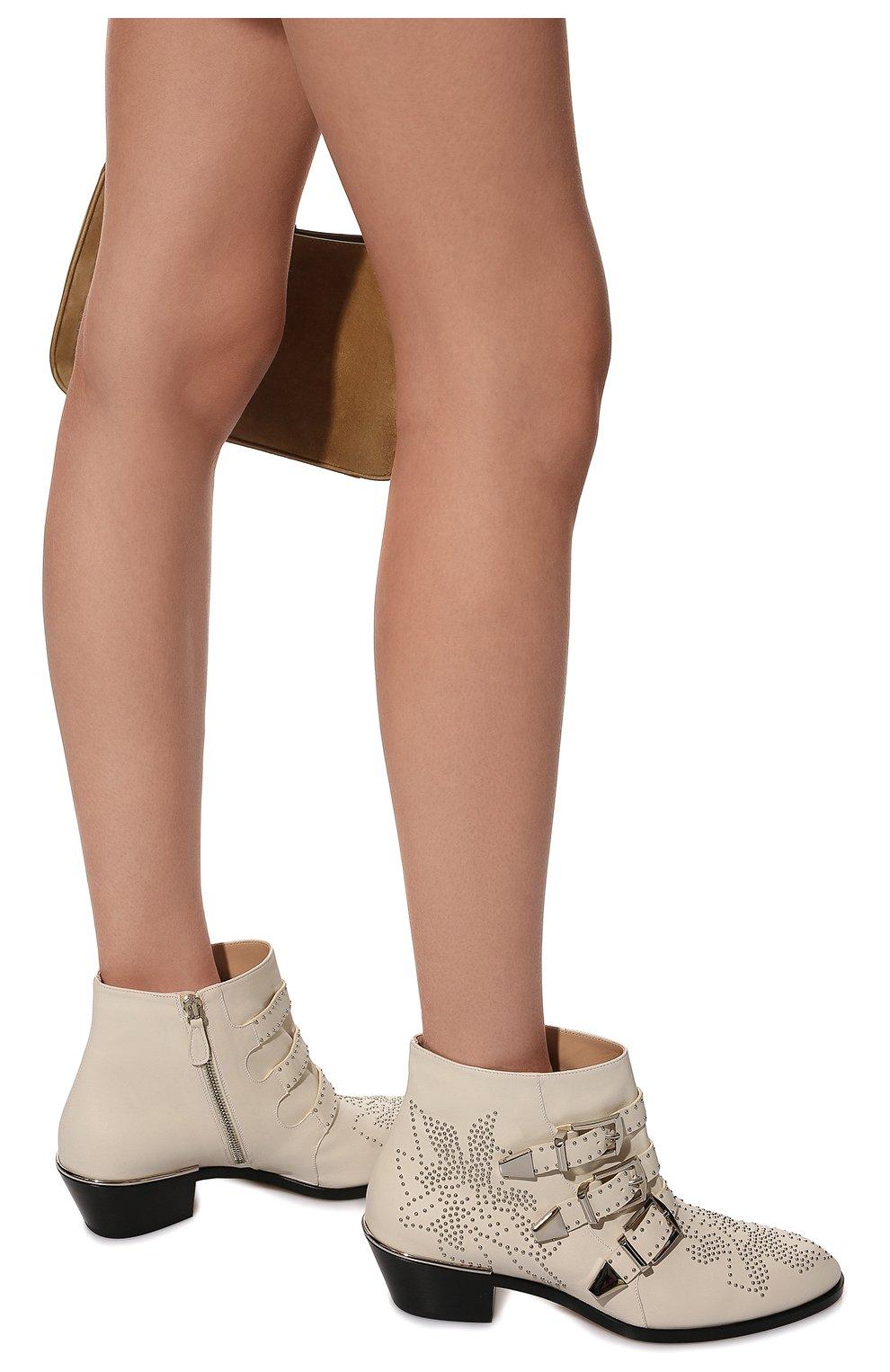 Женские кожаные ботинки susanna CHLOÉ белого цвета, арт. CHC16A13475 | Фото 2