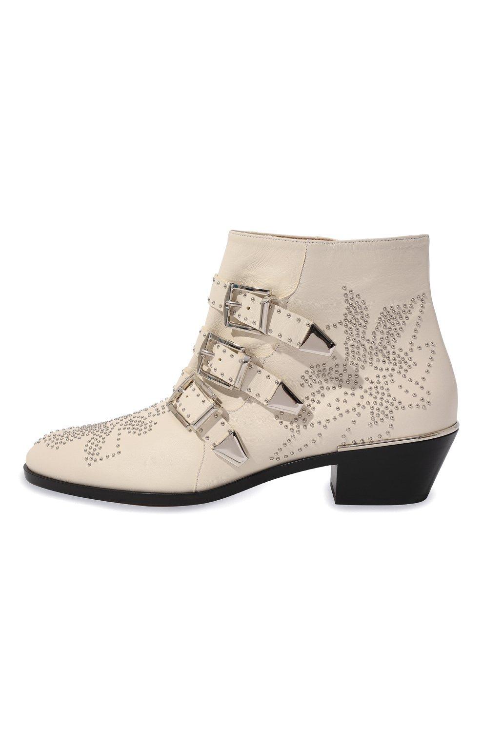 Женские кожаные ботинки susanna CHLOÉ белого цвета, арт. CHC16A13475 | Фото 4