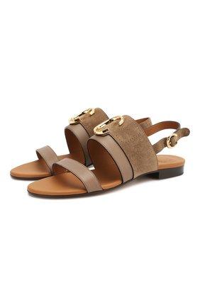 Женские кожаные сандалии CHLOÉ хаки цвета, арт. CHC20U32691 | Фото 1