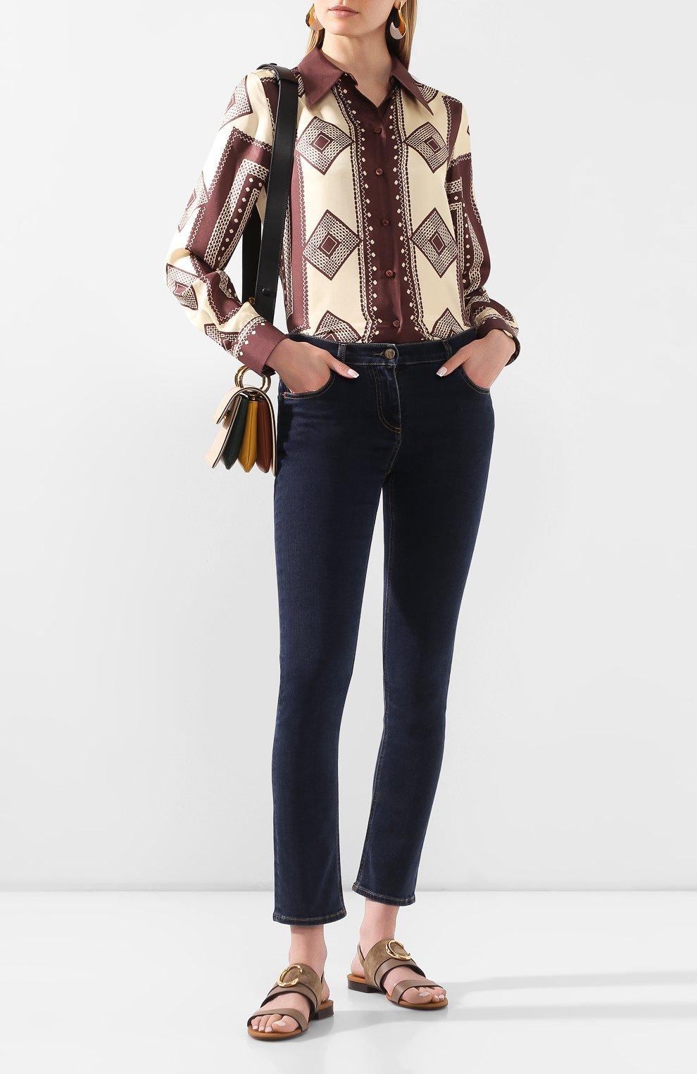 Женские кожаные сандалии CHLOÉ хаки цвета, арт. CHC20U32691   Фото 2