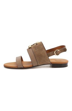 Женские кожаные сандалии CHLOÉ хаки цвета, арт. CHC20U32691   Фото 3