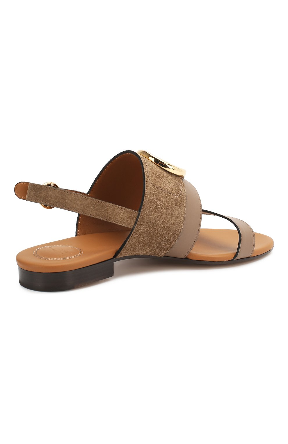 Женские кожаные сандалии CHLOÉ хаки цвета, арт. CHC20U32691   Фото 4