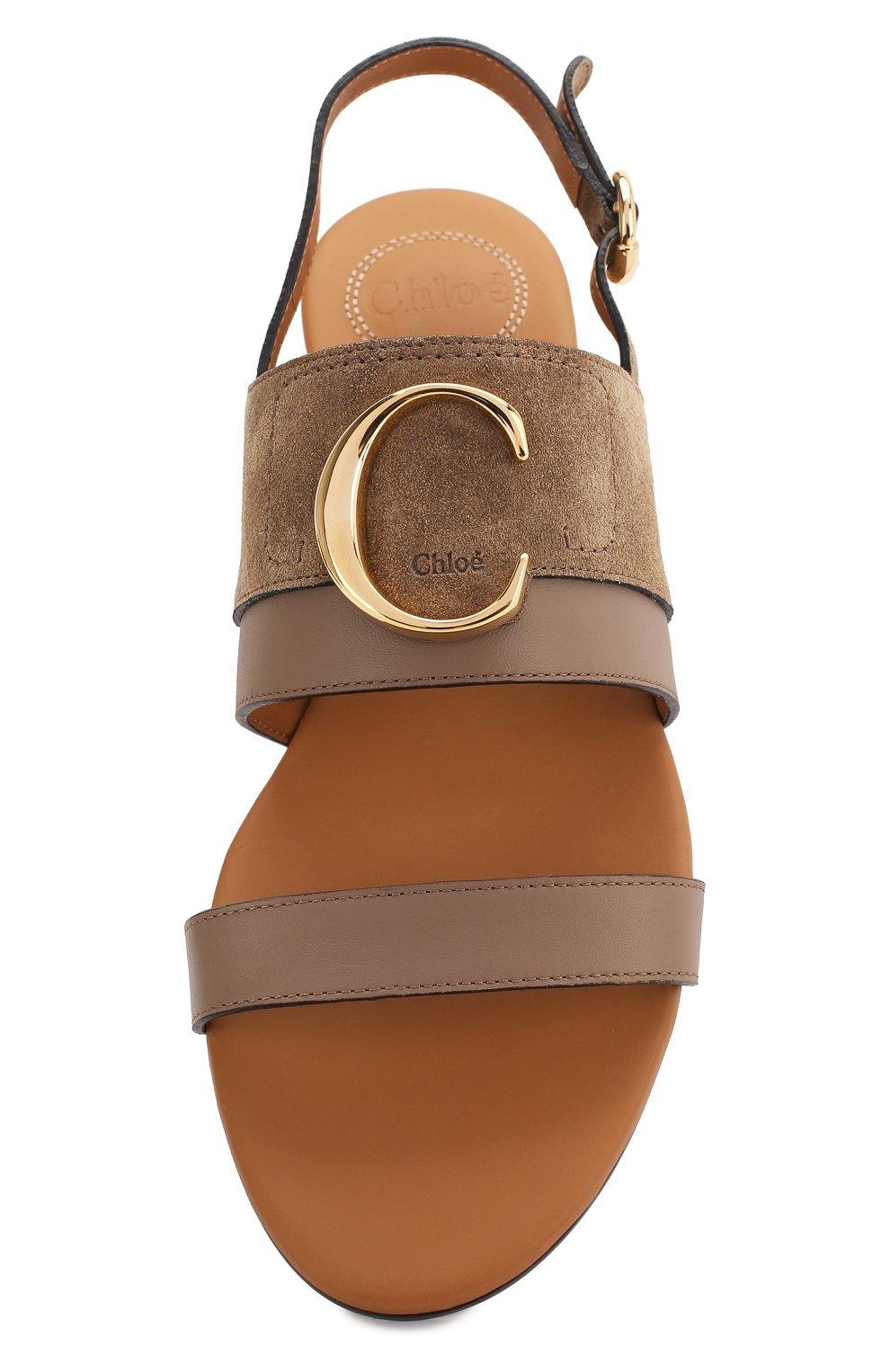 Женские кожаные сандалии CHLOÉ хаки цвета, арт. CHC20U32691   Фото 5