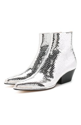 Женские кожаные ботинки carla SERGIO ROSSI серебряного цвета, арт. A89360-MCAL09   Фото 1