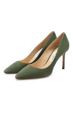 Женская замшевые туфли romy 85 JIMMY CHOO зеленого цвета, арт. R0MY 85/SUE | Фото 1