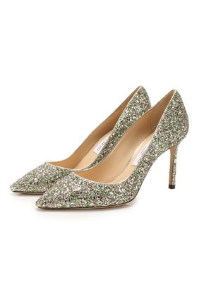Женская туфли romy 85 JIMMY CHOO зеленого цвета, арт. R0MY 85/CGF | Фото 1