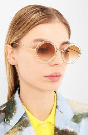 Женские солнцезащитные очки CHLOÉ коричневого цвета, арт. 147S-834   Фото 2