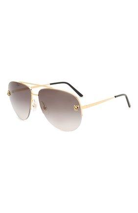 Мужские солнцезащитные очки CARTIER золотого цвета, арт. CT0065 008 | Фото 1