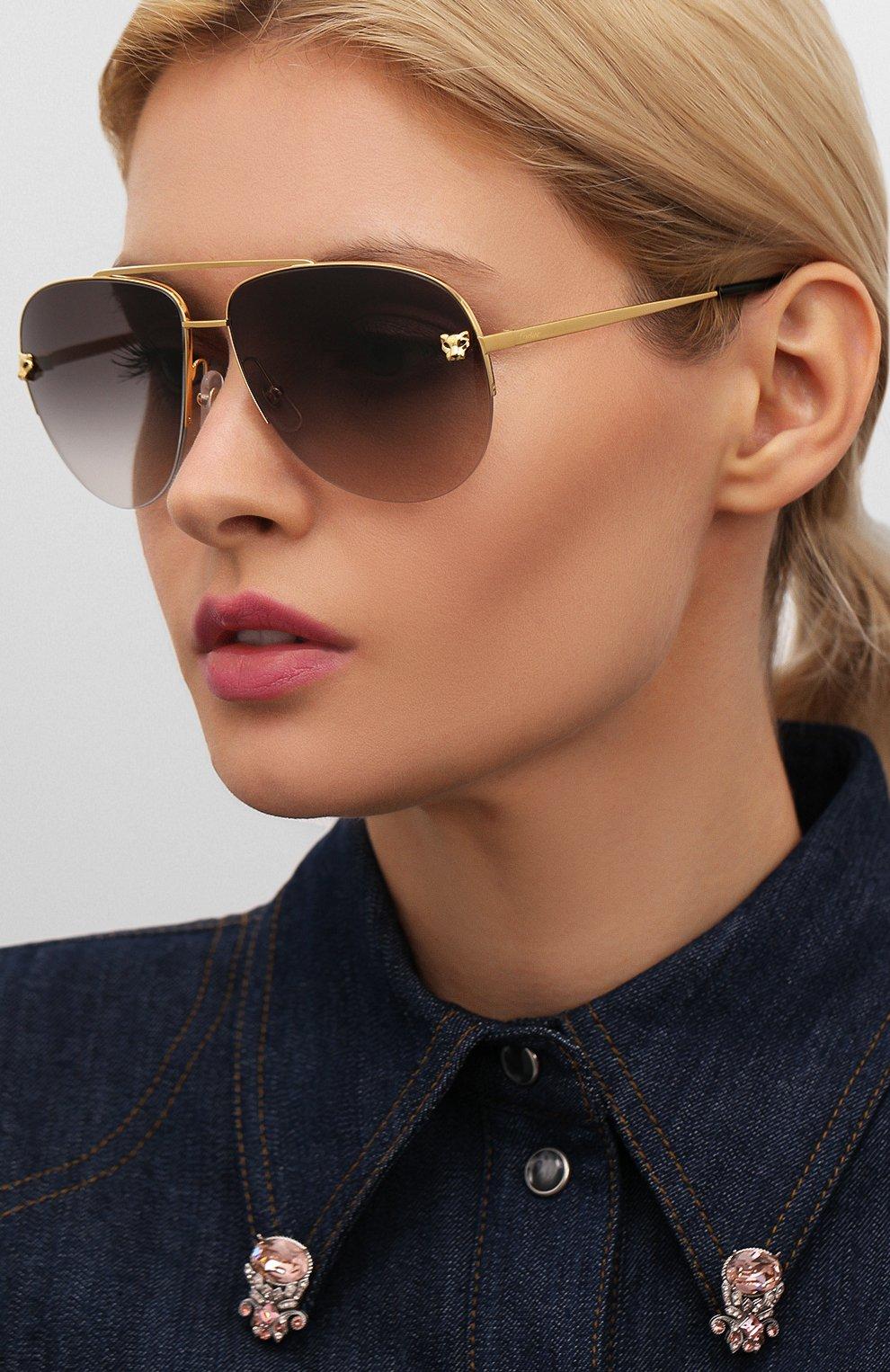 Женские солнцезащитные очки CARTIER золотого цвета, арт. CT0065 008   Фото 2
