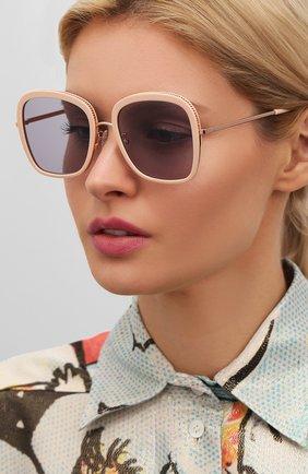 Женские солнцезащитные очки STELLA MCCARTNEY бежевого цвета, арт. SC0206 004 | Фото 2 (Тип очков: С/з; Оптика Гендер: оптика-женское; Очки форма: Квадратные)