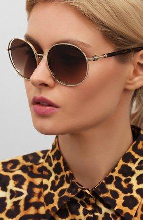 Женские солнцезащитные очки BVLGARI коричневого цвета, арт. 6135-278/13 | Фото 2