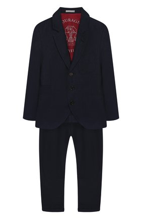 Детский костюм из льна и шерсти BRUNELLO CUCINELLI темно-синего цвета, арт. BH422A102A | Фото 1