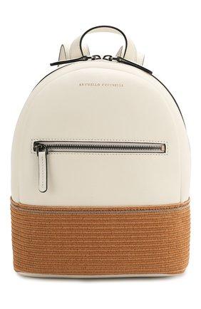 Детская кожаный рюкзак BRUNELLO CUCINELLI белого цвета, арт. BZPAMB001 | Фото 1